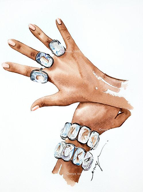 An original painting Blingtastic series – Crystal rings