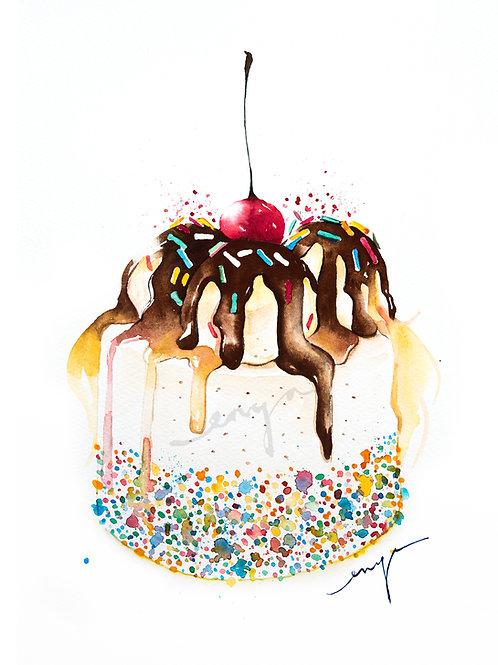 An original painting – Ice cream birthday cake