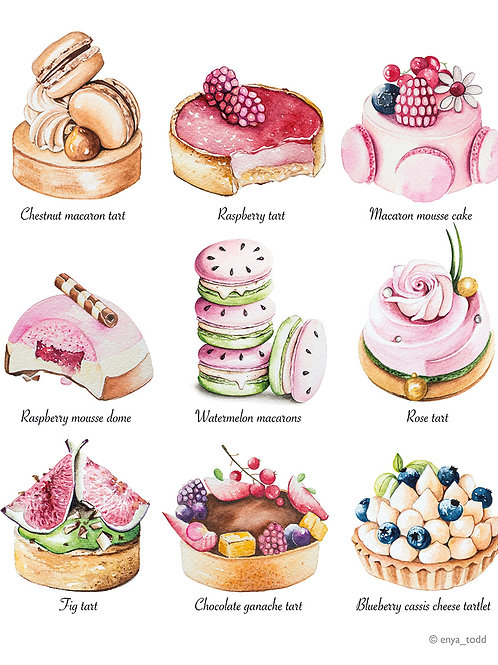 Patisserie illustrations – Limited edition fine art prints