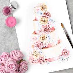 Wedding cake by Fancie Buns Cakery