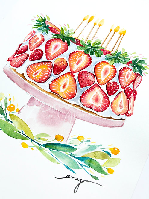 An original painting – Strawberry Birthday Cake