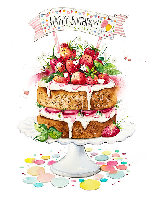 An original painting – Summer Strawberry Birthday Cake