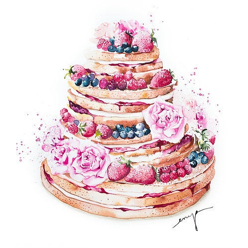 An original painting – Fruity rose wedding naked cake