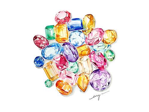 An original painting – Colourful gemstones