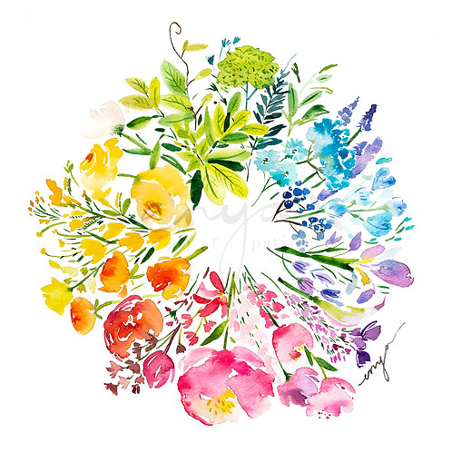 An original painting – Spring flower wreath