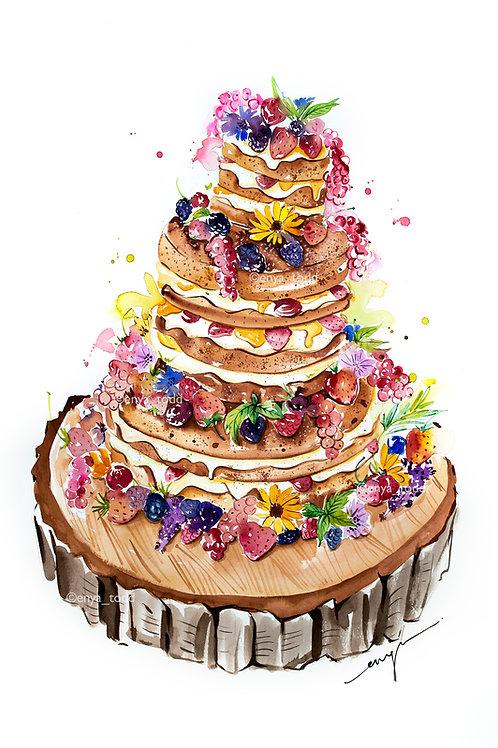 An original painting – Celebration Naked Cake