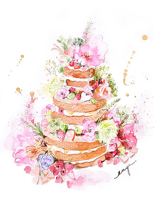 An original painting – Floral wedding cake