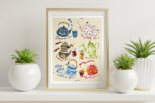 Tea set print