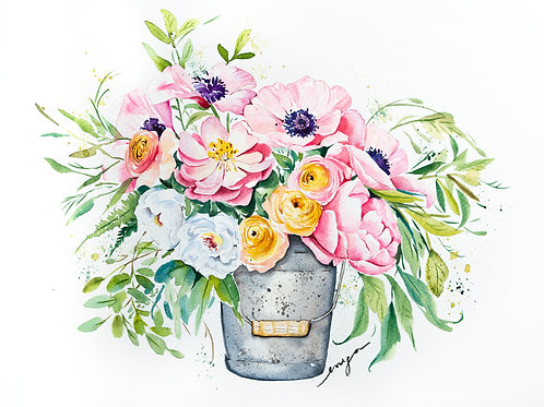 An original painting – Bucket of flowers