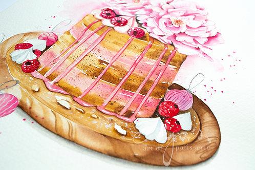 An original painting – Peony Cake