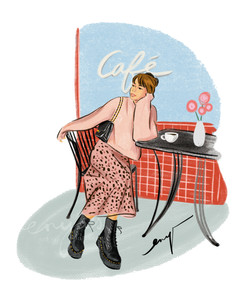 Girl at the cafe (#procreate)