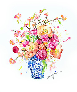 Flowers in chinese vase