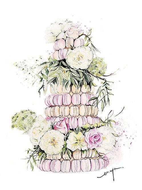 An original A4 painting – Macarons Tower wedding cake