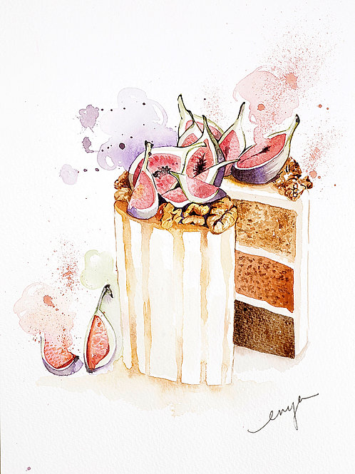 An original painting – Figs honey cake