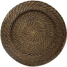 Charger plate brown rattan