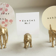 Place card holder, gold animals
