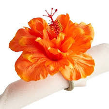 Napkin Ring Orange Hibiscus