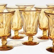 Vintage amber water goblets