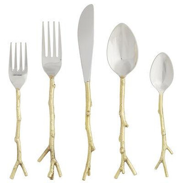 Flatware - silver and gold twig