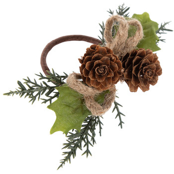 Napkin Ring - Pine cone and greens