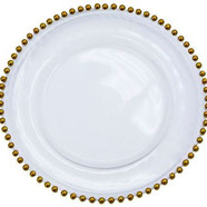 Charger plate glass beaded