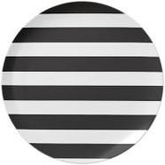 Black & White Striped Dinner Plate