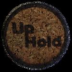 UpHold logo laser burned onto cork circle