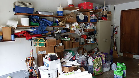 cluttered garage full of stuff
