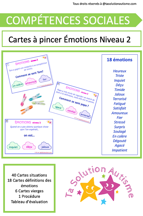 Cartes à Pincer:  Émotions niveau 2
