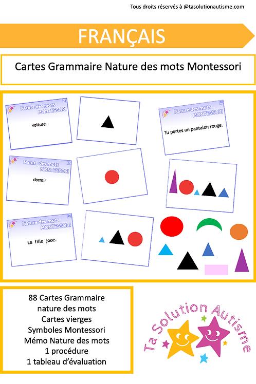 Cartes Grammaire nature des mots Montessori