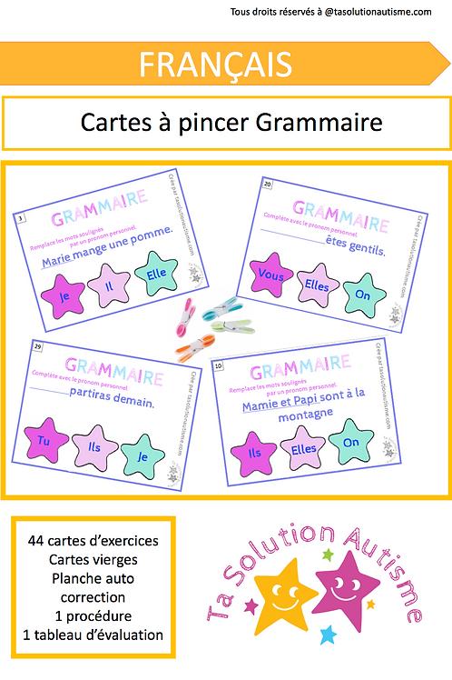 Cartes à pincer: Grammaire
