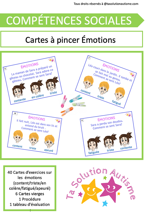 Cartes à Pincer: Émotions niveau 1
