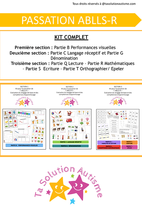 Pack ABLLS COMPLET Sections 1,2&3