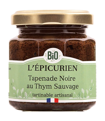 Tapenade Noire au Thym Sauvage Bio - L'Epicurien