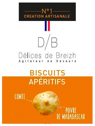 Biscuits Apéritif Comté/Poivre - Délices de Breizh