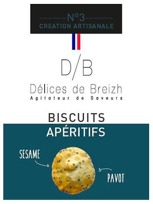Biscuits Apéritif Sésame/Pavot - Délices de Breizh