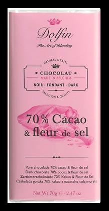 Tablette de Chocolat Noir 70% de Cacao et Fleur de Sel - Dolfin