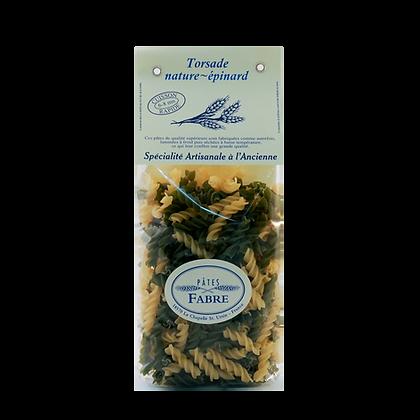 Pâtes Artisanales Maison FABRE - TORSADES Nature Epinards