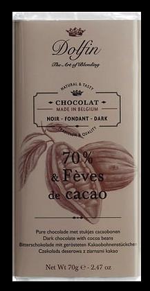 Tablette de Chocolat Noir 70% aux Fèves de Cacao - Dolfin