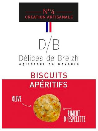 Biscuits Apéritif Olive/Piment d'Espelette - Délices de Breizh