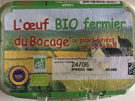 Oeuf de Poule Fermier Bio calibre GROS X6