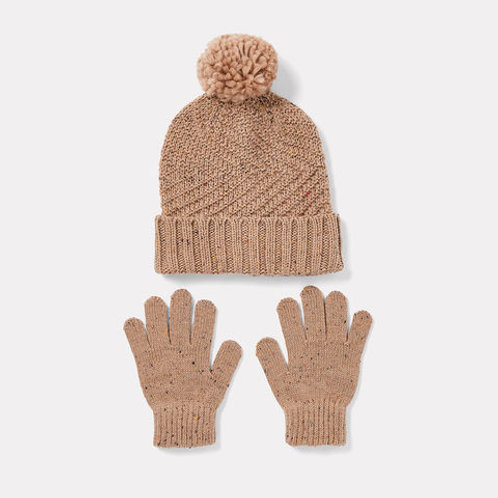 Kids Cable Knit Beanie & Glove Set