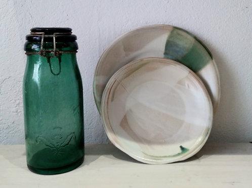 Assiettes blanche/verte