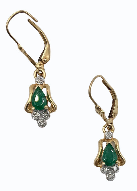 14K Gold Estate Emerald and Diamond Earrings