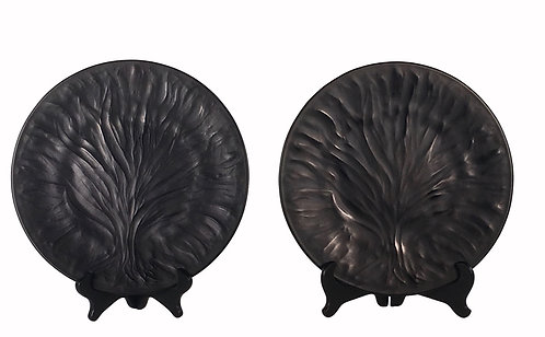 "Lalique ""Algues Noir"" Tree of Life Art Glass Plate"