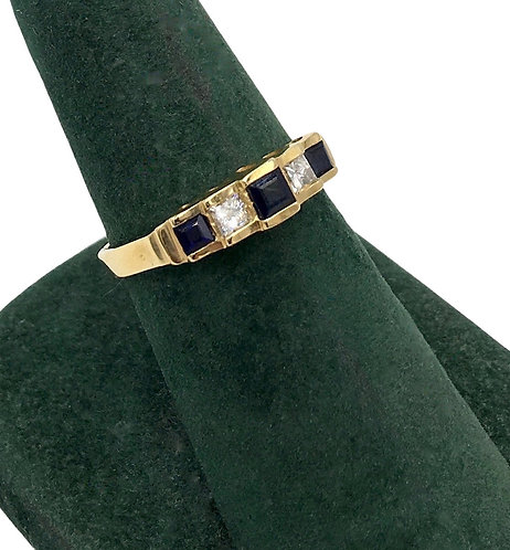 14K Gold Estate Sapphire and Diamond Ring