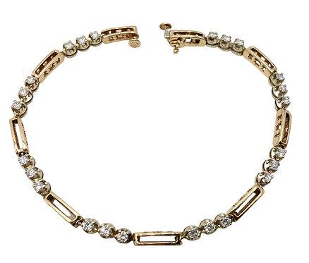 Estate 14K Gold and Diamond Bracelet