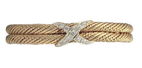 14K Gold and Diamond Bangle Bracelet
