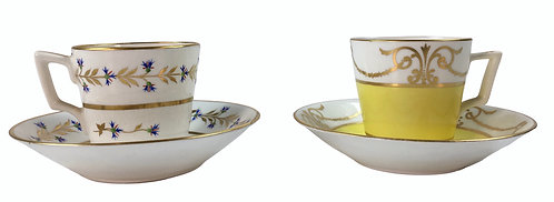 Two 19th c. Derby Demitasse Cups and Saucers