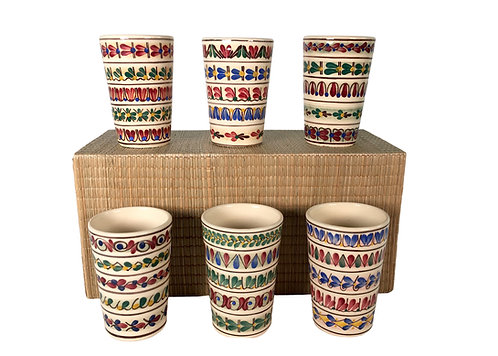 Set 6 Vintage Schwaz Tirol Majolica Cups
